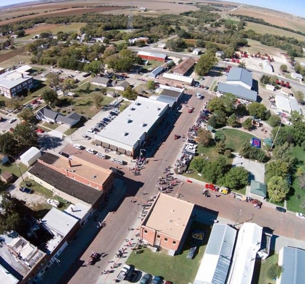 Aerial of Downtown Jewell Kansas
